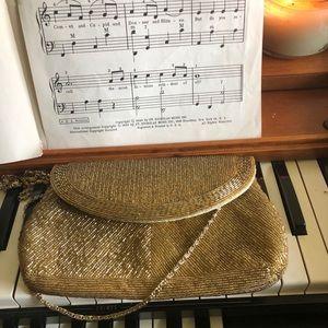Handbags - Vintage Gold Evening Bag (micro-beaded)